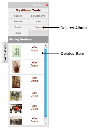 Deleting an item from an album
