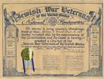 Certificate commemorating the founding in Auburn of the Milton J. Ward Post #484, 1946