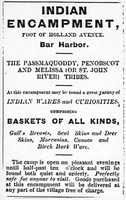 Indian Encampment advertisement, 1880s