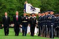 Secretary of Defense William S. Cohen (left), President Bill Clinton (center left), Col. Greg Gardner (center right), U.S. Army, accompany Chairman of the Joint Chiefs of Staff Gen. John M. Shalikashvili (right), U.S. Army.