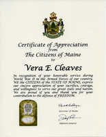 Vera Cleaves World War II Certificate of recognition of service, 2017