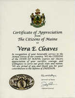 Vera Cleaves Certificate, Maine Womens Veteran, 2017