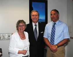 Mrs. Soucie, school librarian and Mr. Bilancia, Maine Studies teacher with Secretary Cohen on May 6, 2013.