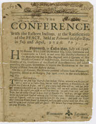 The Conference with the Eastern Indians, at the Ratification of the Peace in Falmouth, 1726