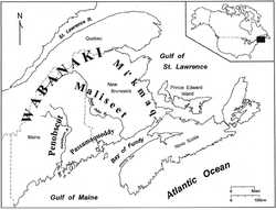 Map by Steve Bicknell, Courtesy of the Anthropology Department, University of Maine, Orono