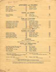 Pilots Grill menu, 1948 page 2