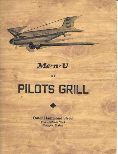 Pilots Grill menu, 1948