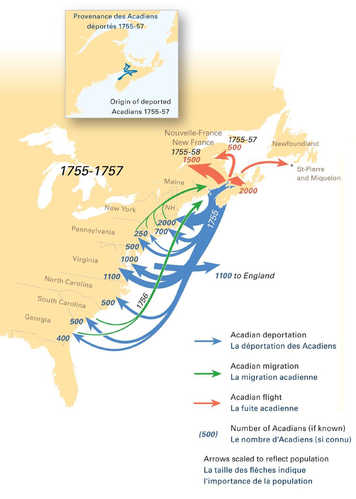 Acadien deportations. Courtesy of the Canadian-American Center, University of Maine